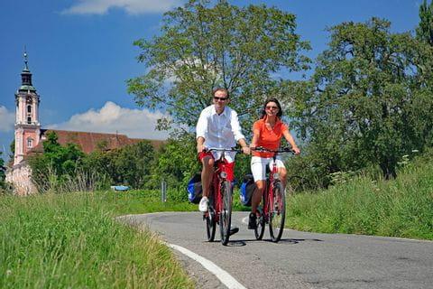 Radfahrer in der Nähe von Birnau