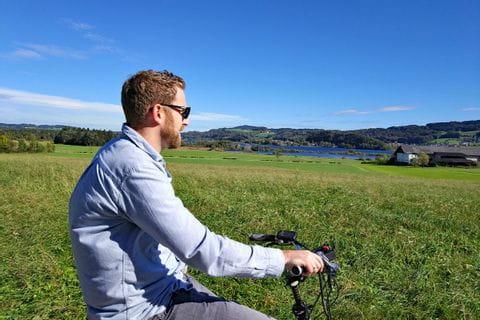 Michael Kröll beim E-Bike Ausflug des Eurofun Teams