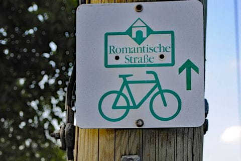 Cycle path sign along the route