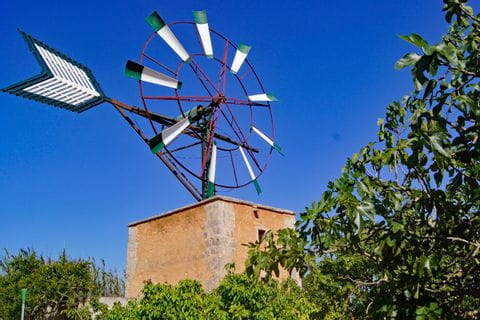 Wind wheel on tower