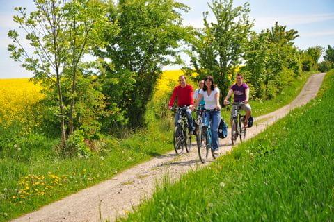 Radfahrer unterwegs von Hamburg nach Sylt