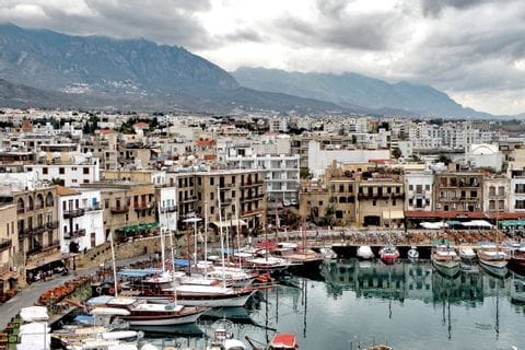 The city of Kyrenia with view on the old town