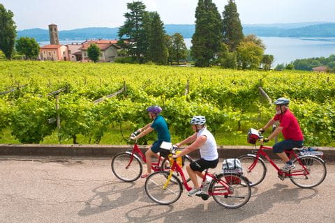 bike group in Piedmont with a view to the lake