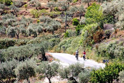 Auf einem ruhigen Straße durch die wilde Landschaft der Extremadura