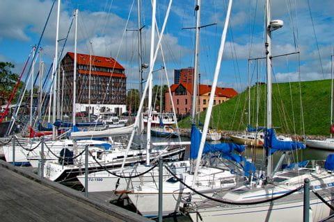 Marina with boats in Klaipeda