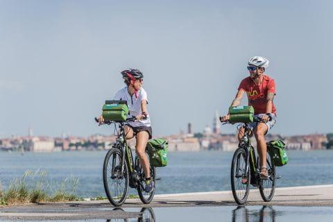 Cyclists on the bike path near Trieste