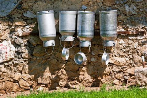 Milchkannen an Steinmauer