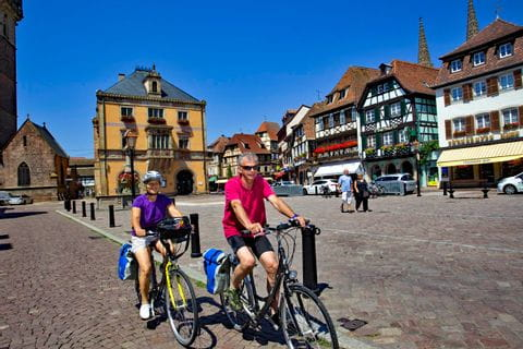 Cyclists in Obernai