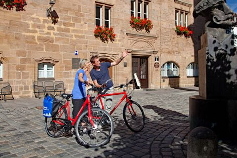 Cyclists in the centre of Ansbach