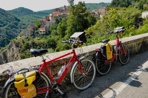 Bikes on side road of the Tuscan coast