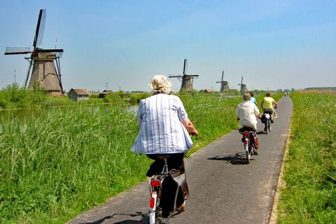 Cyclists at windmills