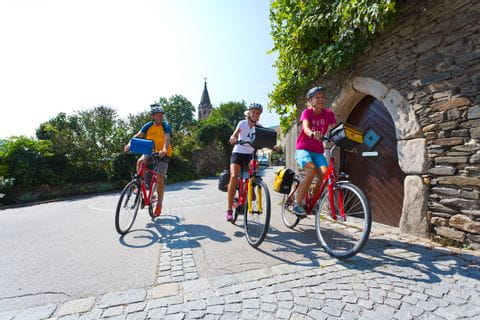 Cyclists on Danube Cycle Path in Spitz
