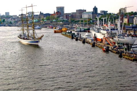 Sailing ship in the port of Hamburg