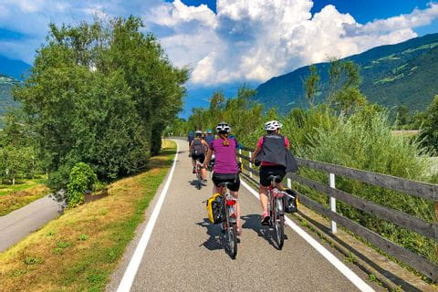 Cycle path along the river Adige