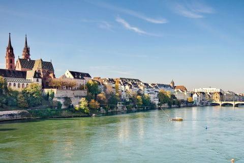 Blick auf Basel am Rhein