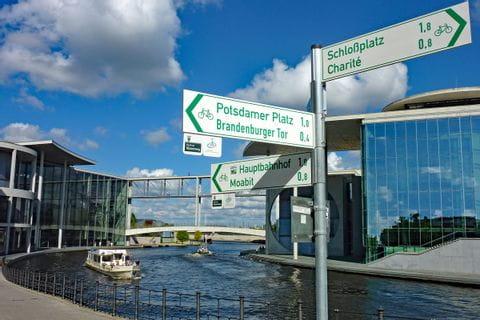 Signs at Berlin Wall cycle path