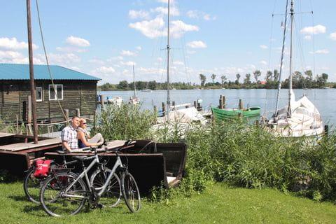 Bike break with view of a lake