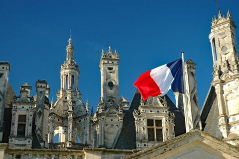 Castle with a flag of France
