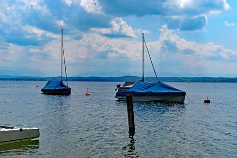 Covered sailboats lake Starnberg