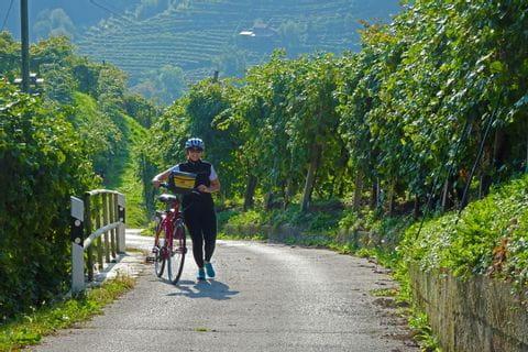 Radfahrerin schiebt das Rad am Radweg
