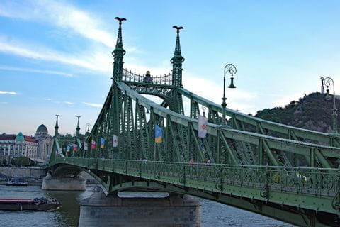 Chain Bridge with flags