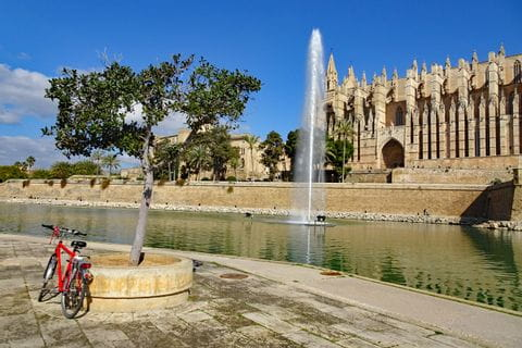 Bike in front of cathedral in Palma