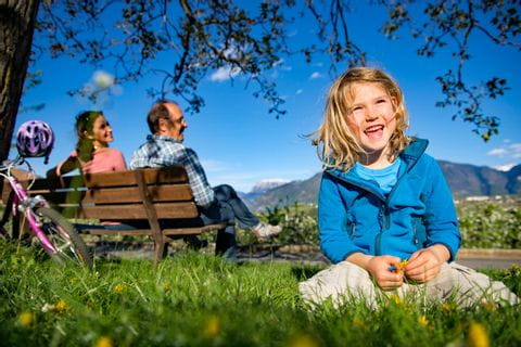 Pause mit Ausblick in Südtirol