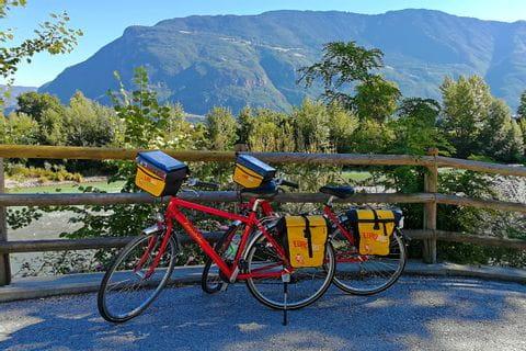 Eurobike bikes at river Etsch