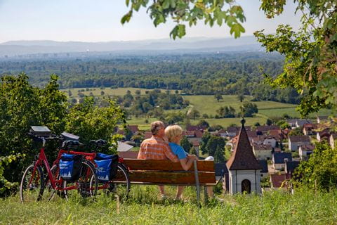 Cyclists having a break in the Southern Black Forest