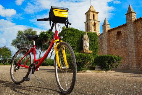 Eurobike bike in front of the church in Son Negre