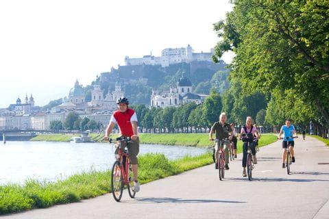 Cyclists along the river Salzach