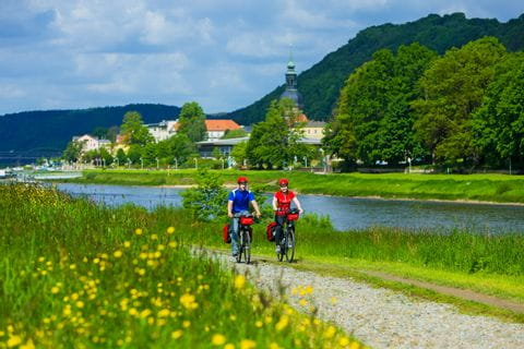 Cyclists at Elbe Cycle Path close to bad Schandau