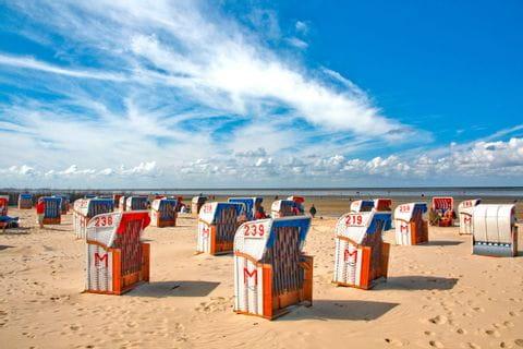 Strandkörbe am Strand von Cuxhaven