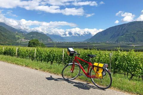Eurobike-Rad vor Bergpanorama und Weinreben in Südtirol