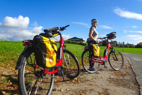 Bikes under a blue sky