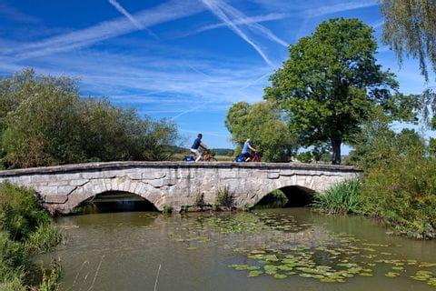 Cyclists on bridge near Ansbach