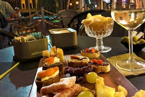 Italian snacks with wine
