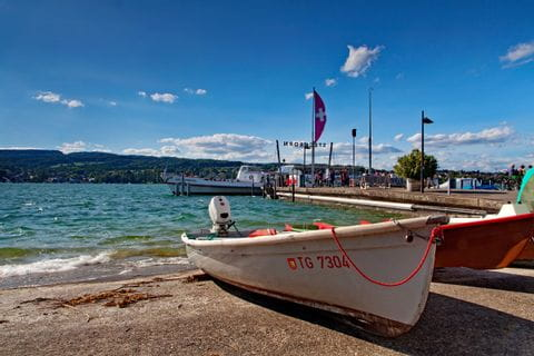 Boats in the port of Steckborn at Lake Constance