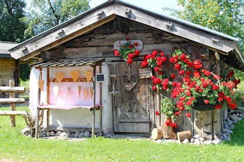 Kleine Holzhütte mit Blumen