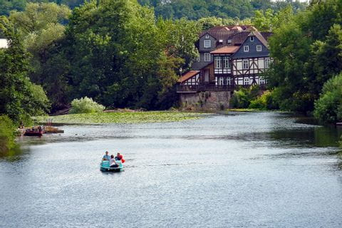 Half-timbered house at river Lahn