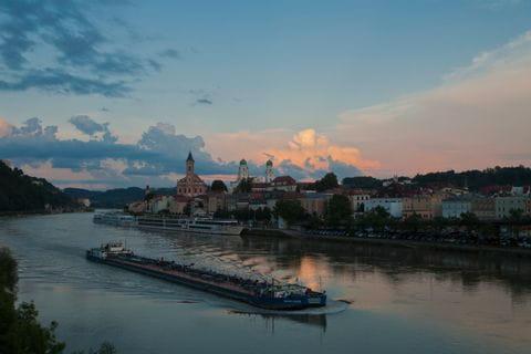 Port of Passau in the twilight