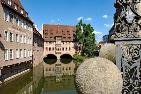 Blick von der Museumsbrücke zum Heilig-Geist-Spital
