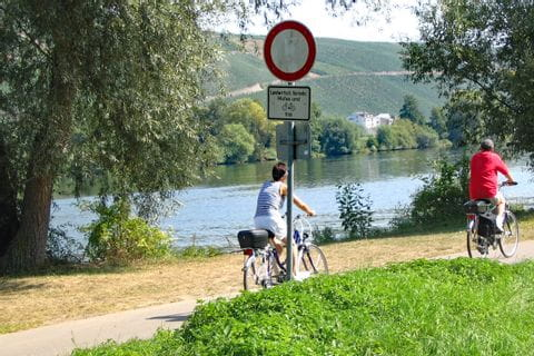 Cycle path on the lake shore