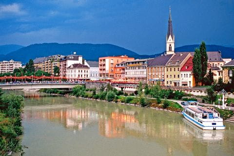 View over Villach and the river Drau
