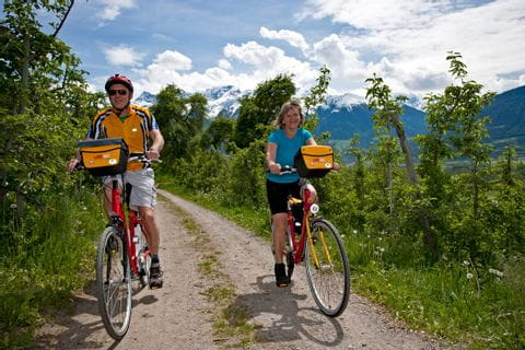 Cyclists in front of panoramic mountain view
