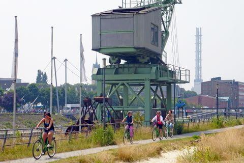 Radweg bei Duisburg mit Radfahrer