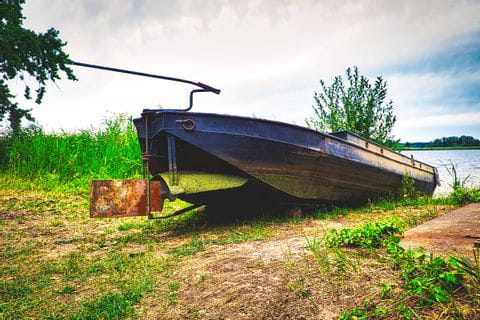 a boat in Spreewald along the cycle path