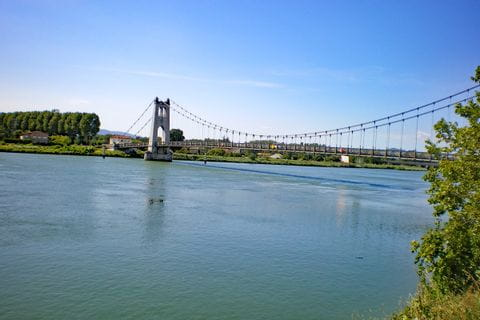 Suspension bridge in La Voulte-sur-Rhone