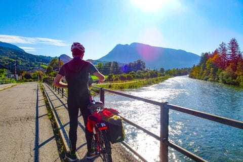 Cyclist at the river Traun
