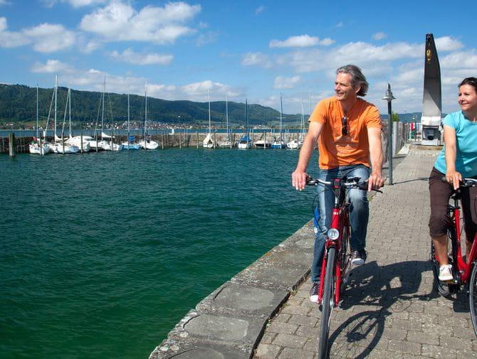 Radfahrer auf der Bodensee Radtour